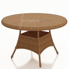 "42"" Round Wicker Forever Patio Catalina Dining Table with Glass Top"
