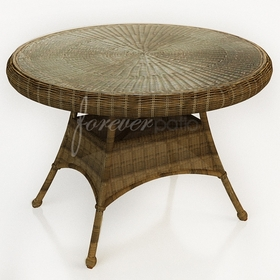 """42"""" Round Wicker Forever Patio Rockport Dining Table with Glass Top"""