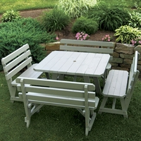 """43"""" Traditional Pine Square Table with Four Backed Benches"""