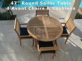 "47"" Round Teak Sailor Table & 4 Teak Avant Chairs & Cushions Set"