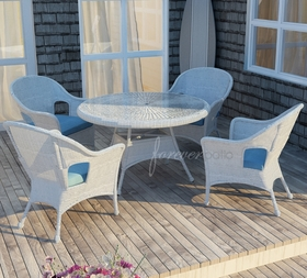 """48"""" Round Wicker Forever Patio 5 Pc Rockport Dining Set"""