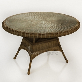 """48"""" Round Wicker Forever Patio Rockport Dining Table with Glass Top"""