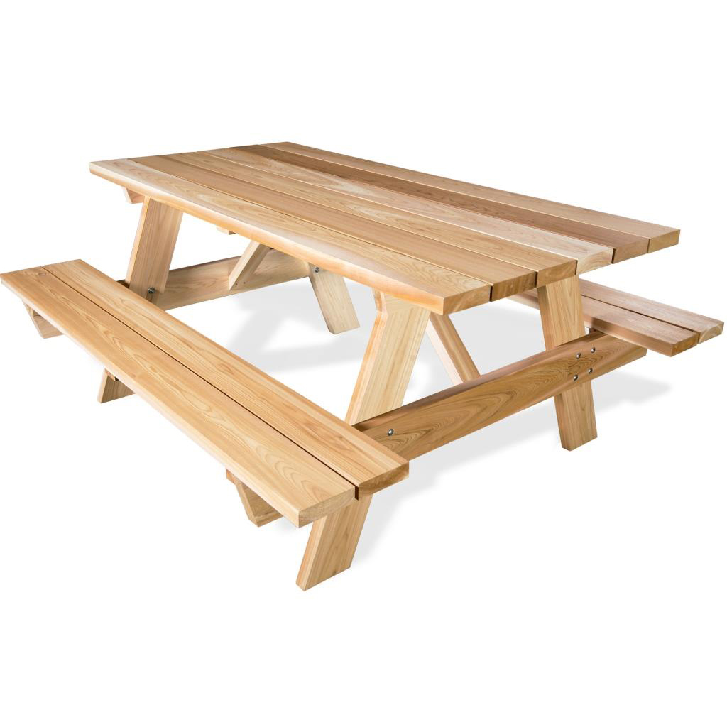 Cedar Wood Picnic Table With Attached Benches - Ready to assemble picnic table