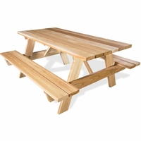 6' Cedar Picnic Table w/ Attached Benches
