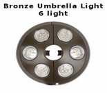 6 Light Bronze Umbrella Light to fit in straight pole umbrellas