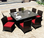 "60"" Square Wicker Forever Patio 9 Pc Capistrano Dining Set"