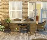 """84"""" Oval Wicker Forever Patio 7 Pc Rockport Dining Set"""