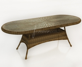 """84"""" Round Wicker Forever Patio Rockport Dining Table with Glass Top"""