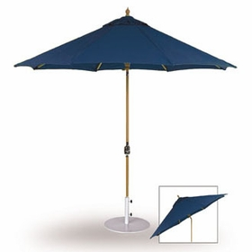 Three Birds 9 Ft Teak Umbrella with Crank Lift and Rotational Tilt