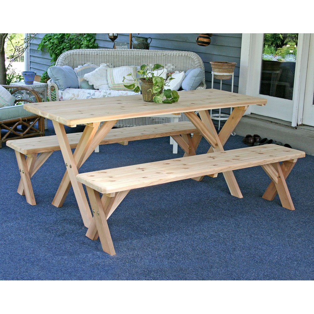 BackYard Bash CrossLeg Picnic Table Benches - 8 foot picnic table with detached benches
