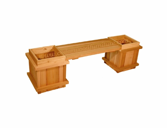 Sturdy Cedar Wood Planter Amp Bench Set