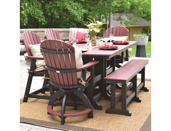 Berlin Gardens Resin Comfo-Back 6 Seat Counter Height Set with Bench