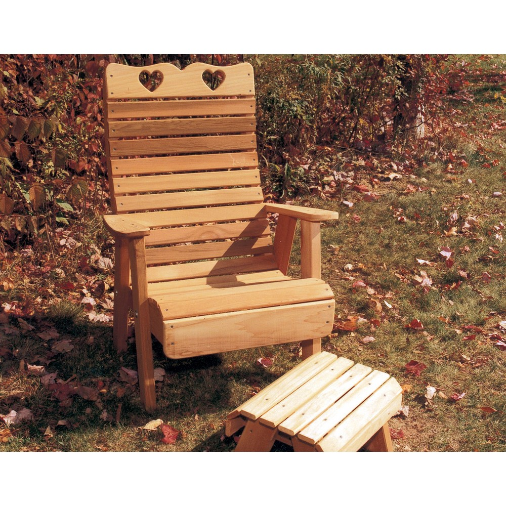 Cedar country hearts patio chair optional footrest