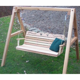 Cedar Country Hearts Porch Swing with Stand