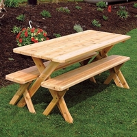 Cedar Crossleg Table with Benches 4', 5', 6', or 8'