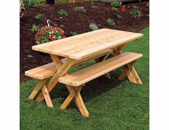 Terrific Cross Legged Cedar Picnic Table With Two Benches 4 5 6 Or 8 Download Free Architecture Designs Scobabritishbridgeorg