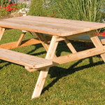 Cedar Table w/Attached Benches: 4', 5', 6', or 8'