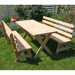 5b6f1e4e44a1 Cedar Cross Legged Picnic Table with Two Backed Benches