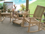 Comfort Back Teak Rockers and Tray Cart Set - Out of Stock til Aug