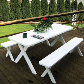 Cross-legged Table w/2 Benches 4', 5', 6', or 8'
