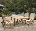 """Family Teak 72"""" - 96"""" Expansion Table Set w/6 Florida Sling Chairs"""