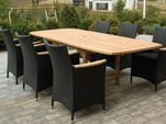 "Family Teak 72"" - 96"" Rectanular Expansion Table & 6 Helena Wicker Chair"