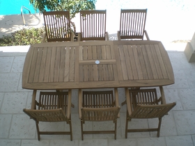 "Gala Teak 64"" - 80"" - 96"" Mega Expansion Table + 6 Estate Chairs"