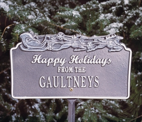 Happy Holiday Lawn Plaque w/Sleigh