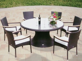 "Helena Wicker 60"" Table w/ 6 Stacking Chairs - Special Closeout Pricing"