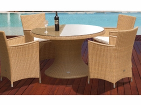 """Helena Wicker 48"""" Table w/ 4 Chairs - Color Options"""