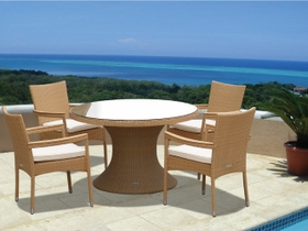"""Helena Wicker 48"""" Table w/ 4 Stacking Chairs - Color Options - Special Closeout Pricing"""
