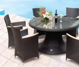 "Helena Wicker 60"" Table w/ 6 Chairs - Color Options"