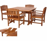 Java Teak 5 Piece Butterfly Double Extension Table Dining Set