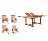 Java Teak 5 Piece Butterfly Double Extension Table Folding Arm Chair Dining Set