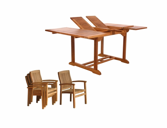 Java Teak 5 Piece Butterfly Double Extension Table Stacking Chair Dining Set