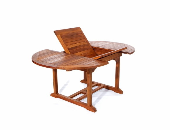 Java Teak 5 Piece Oval Extension Table Stacking Chair Dining Set