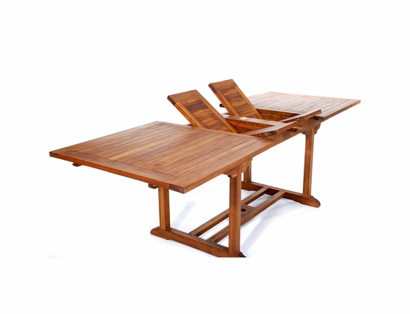 Java Teak 5 Piece Rectangular Extension Table Folding Arm Chair Dining Set