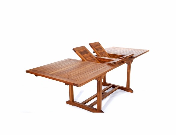 Java Teak 5 Piece Rectangular Extension Table Stacking Chair Dining Set