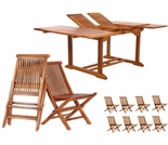 Java Teak 9 Piece Butterfly Double Extension Table Folding Chair Dining Set