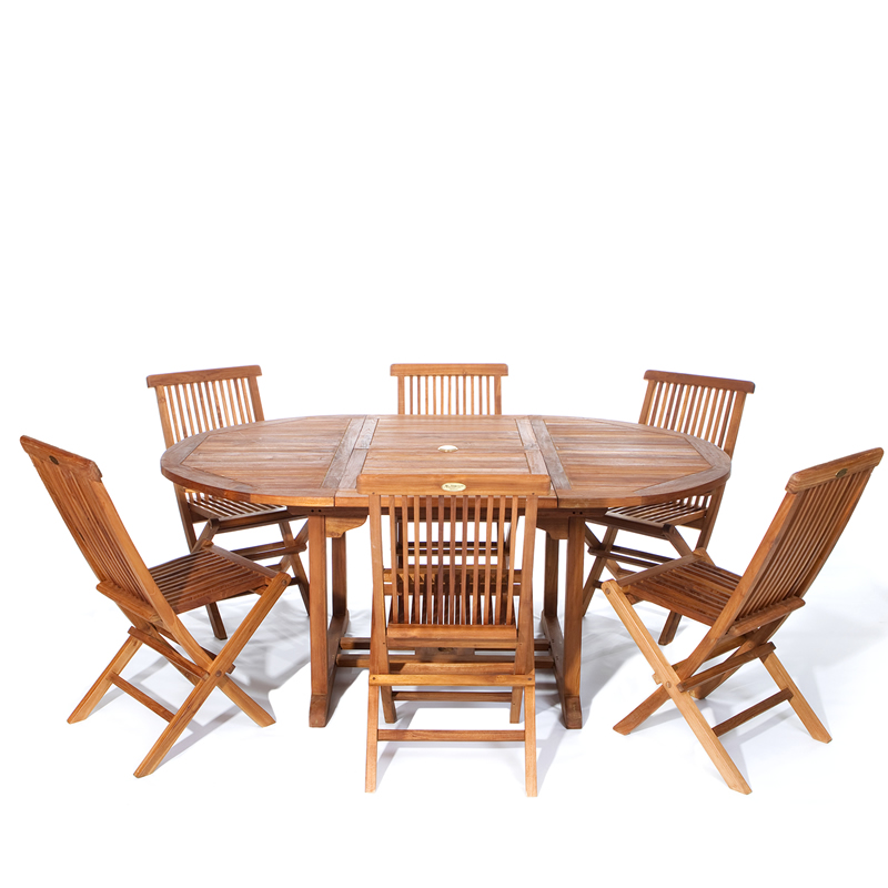 Java Teak Nine Piece Oval Extension Table And Chair Set