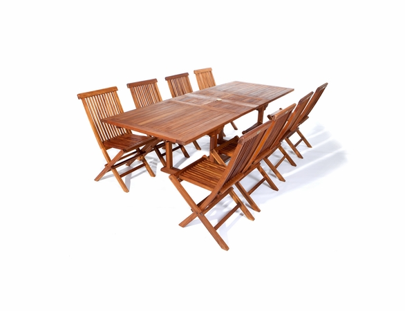 Java Teak 9 Piece Rectangular Extension Table Folding Chair Dining Set