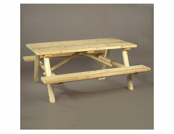 Log Cedar Picnic Table w/ Flip-Up Benches - Not Currently Available