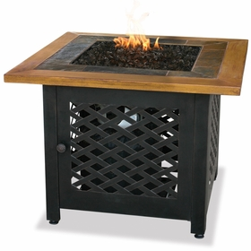 LP Gas Firebowl w/ Slate and Faux Wood Mantel and Steel Base
