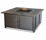 LP Gas Firebowl w/ Slate Tile Mantel and Copper Accents