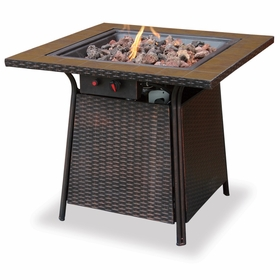 LP Gas Firebowl w/ Tile Marble and All-Weather Wicker Base
