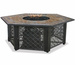 LP Gas Hexagonal Steel Firebowl w/ Slate Mantel
