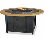 LP Gas Round Firebowl w/ Slate and Faux Wood Mantel