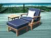 Miami Teak Deep Seating Chair & Ottoman Set with Side Table