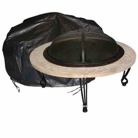 "Outdoor Round Fire Pit Vinyl Cover w/ Felt Lining - 42"" Diameter"