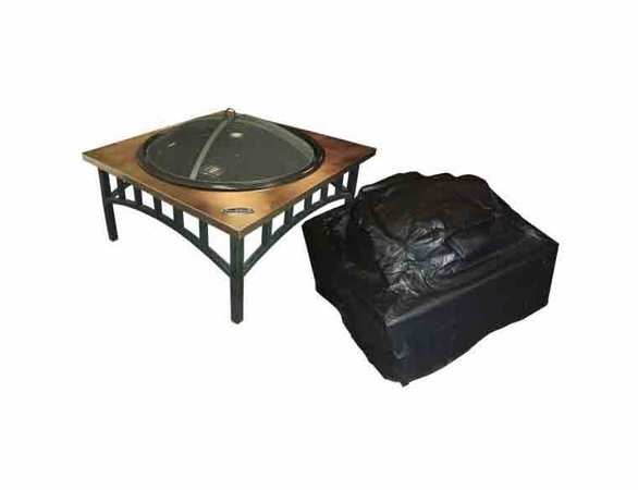 """Outdoor Square Fire Pit Vinyl Cover w/ Felt Lining - 38"""" Square"""